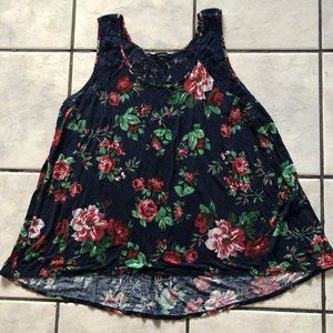 Soft Cotton & Lace Floral Flare Fit Tank Top
